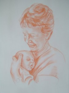 Granny love - Pastel on paper