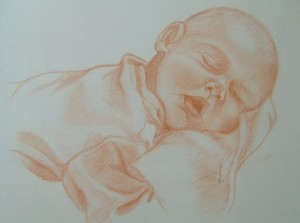 Sleeping - Pastel on paper